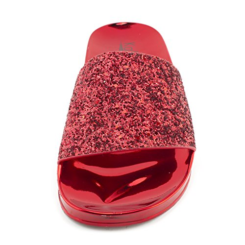 Sandals Adults Single Glitter Red Slip Womens On Wide Kali Band Slide qOc8T4n