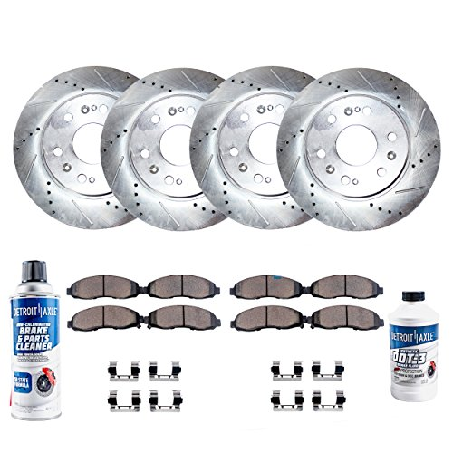 (Detroit Axle - FRONT & REAR DRILLED Brake Rotors & Ceramic Brake Pads w/Hardware, Brake Fluid & Cleaner for Dual Piston Rear Calipers, GMC Sierra & Silverado 1500 Chevy Tahoe)