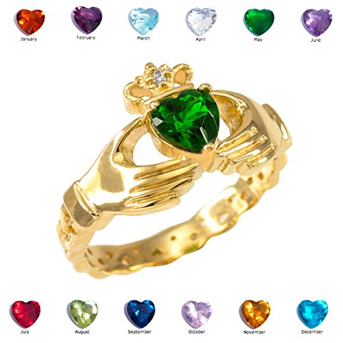 Solid 10k Yellow Gold Personalized CZ Heart Diamond Crown Birthstone Claddagh Ring, Size 4