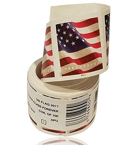 USPS US Flag 2017 Forever Stamps - Roll of 100 (For 2017 Stamps Postage Christmas)