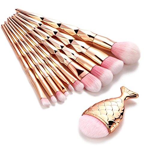 Kehen Mermaid Makeup Brushes Set Chubby Fish Foundation Brush With Box 11pcs Soft Nylon Bristles Beauty Make Up Kits Face Blush Concealer Eyebrow Eyeliner Eye Lip Cosmetic Brushes Tools - Pink -