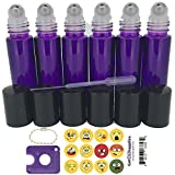 Got Oil Supplies 10ml Roller Bottles For Essential Oils - Includes 12 Free Emoji Lid Stickers, Rollerball Insert Tool & Pipette - 6 or 12 Packs In Multiple Colors (6 Pack, Purple)