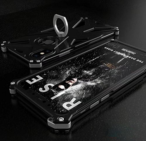 Armor Metal Hybrid (For iPhoneX Case, Omio Armor Hybrid Dual Layer Metal Bumper Cover Aviation Aluminum Frame Armour Rotary Ring Kickstand Stand Shockproof 360 Full Body Coveraged Protective Shell For Apple iPhone X 10)
