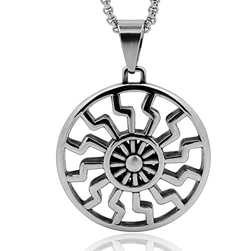 (Zoro Men's Stainless Steel Hollow Out Engine Sun Pattern Celtic Vintage Wheel Occult Symbol Pendant Necklace)