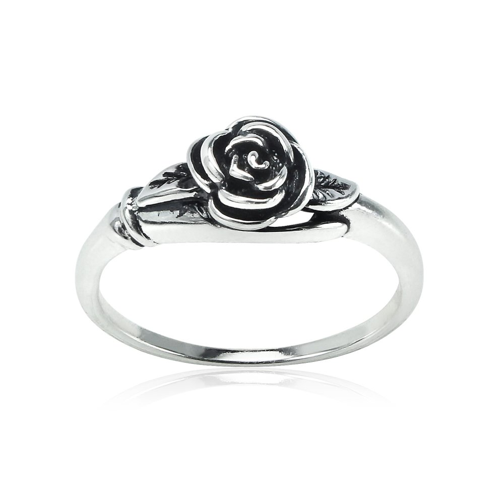 Sterling Silver Oxidized Flower Rose Ring, Size 8