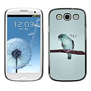 TopCaseStore Rubber Case Hard Cover Protection Skin for SAMSUNG GALAXY S3 & I9300 - art gray minimalistic blue