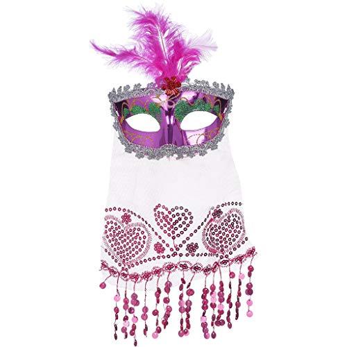 Unionm Masquerade Mask, Halloween Mask, Halloween Props, Veil Mask Rose Women's Brilliant Masquerade Mask Oriental Fluffy Feather Venetian ()