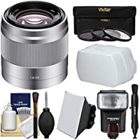 Sony Alpha E-Mount 50mm f/1.8 OSS Lens (Silver) with Flash + Soft Box + Diffuser + 3Filters Kit for A7, A7R, A7S Mark II, A5100, A6000, A6300 Cameras