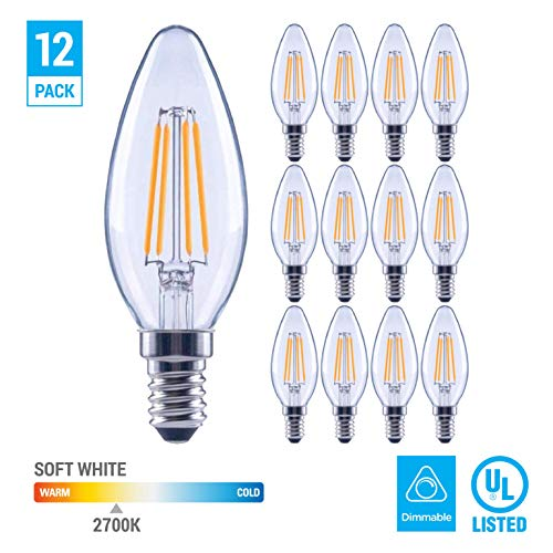 (12 Pack) 60-Watt Equivalent B11 Dimmable Clear Filament Vintage Style LED Light Bulb Warm White ()