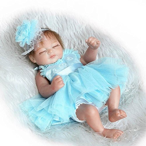 Pinky 26cm 10 Inch Mini Hard Vinyl Silicone Full Body Reborn Baby Doll Realistic Newborn Dolls with Blue Dress Xmas Birthday (Blue Mini Doll)