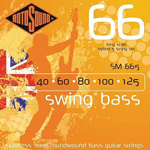 Rotosound SM665 Swing Bass 66 Stainless Steel 5 String Bass Guitar Strings (40 60 80 100 125) Rotosound Swing Bass