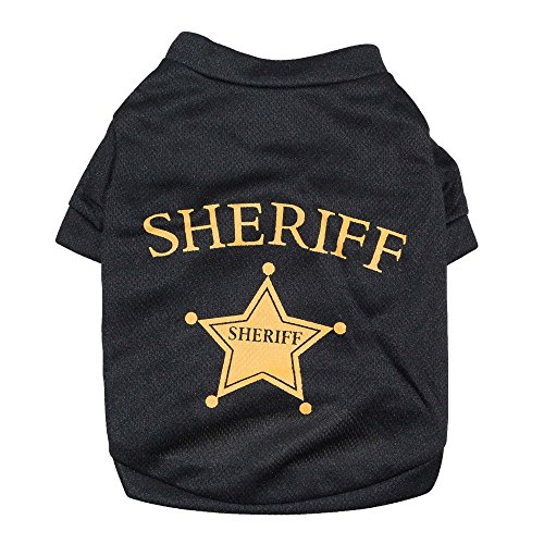 Black T Shirt Prints SHERIFF Star Dog Cat Puppy Clothes Spring Summer (M)