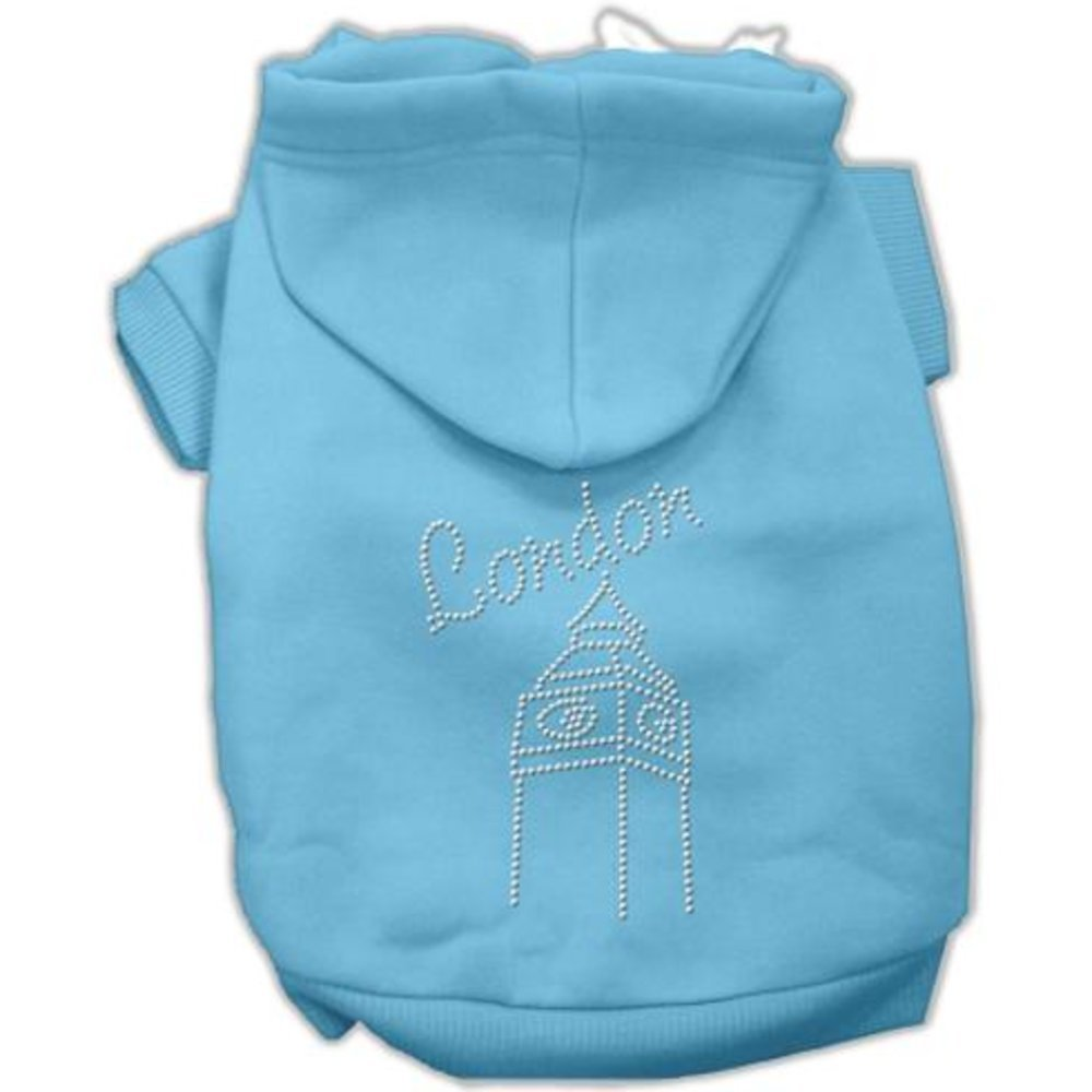 Baby bluee X Small Size 8 Baby bluee X Small Size 8 Mirage Pet Products London Rhinestone Hoodies, Baby bluee, X Small Size 8