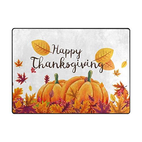 Area Rug Carpet Happy Thanksgiving Day Pumpkin Autumn Maple Leaves Soft Non-Slip Runner Mat 4'x6', Indoors/Bedroom/Living/Dining/Kitchen Floor Mats,8mm Pile Height,Rectangular
