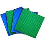 "Variety pack LEGO®-Compatible Baseplates -- (Set of 4 - 10"" X 10"") -- Green and Blue -- By Creative QT"
