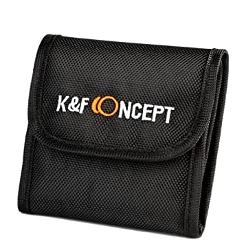 K&F Concept Bolsa de Filtros Funda para 3 Filtro Bolsa con 3 Bolsillos Funda Caso para Filtros de Cámara Canon Nikon Sony etc