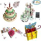 3D Pop Up Birthday Cards Greeting Handmade Birthday Cards & Envelopes for Sister, Mom, Wife, Kids, Boy, Girl, Friend (4 Pack)