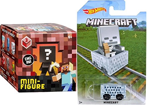 Hot Wheels MineCart Skeleton Exclusive with Minecraft Collectible Figure Mystery Blind Box Character Mini Figures Netherrack Series Three