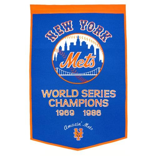 New York Mets World Series Championship Dynasty Banner - with hanging rod