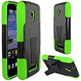 Zizo Alcatel One Touch Pop Star LTE A845L HYBRID PC/SC Combo Cover with Kickstand - Retail Packaging - Neon Green