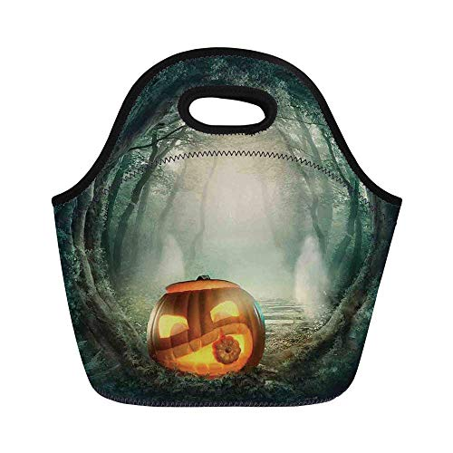 Halloween Decorations Durable Lunch Bag,Scary Halloween Pumpkin Enchanted Forest Mystic Twilight Party Art for School Office,11.0