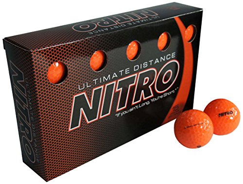 (Long Distance High-Durability Golf Balls (15PK) All Levels-Nitro Ultimate Distance Titanium Core High Velocity Great Stop & Sticking ability Golf Balls USGA Approved-Total of 15-Orange (Renewed))