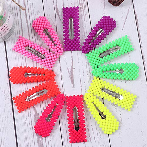 12 Pcs Colorful Snap Hair Clip Fashion Geometric Pearl Shape Hair Clips Plastic Bright Colors Hair Pins Hair Barrettes for Women Ladies Party Wedding Daily ()