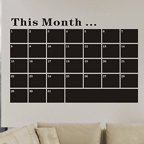 OTTATAT Wall Stickers Flowers 2019,53X78 Month Plan Calendar Chalkboard MEMO Blackboard Vinyl Wall Sticker Easy to Stick Christmas Club Gift for Girlfriends Free Post