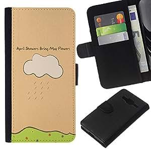 A-type (Lluvias de abril traen flores de mayo) Colorida Impresión Funda Cuero Monedero Caja Bolsa Cubierta Caja Piel Card Slots Para Samsung Galaxy Core Prime