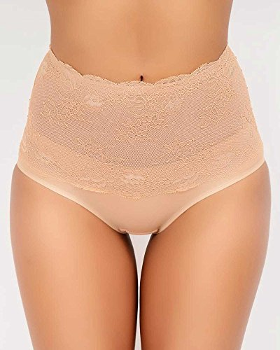 Q-T Intimates Medium Control Lace Brief, Mocha, Medium