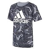 adidas Boys' Short Sleeve Warped Camo Allover Print
