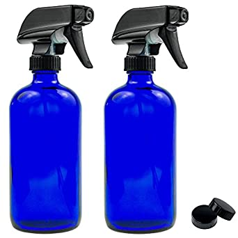 Empty Blue Glass Spray Bottle - Large 16 oz Refillable Container for Essential Oils, Cleaning Products, or Aromatherapy - Black Trigger Sprayer w/ Mist and Stream Settings - 2 Pack