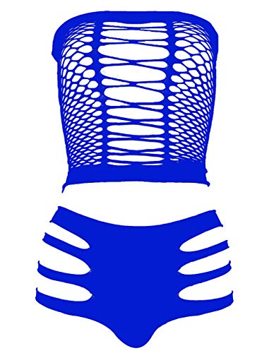 LEMON GIRL Women's Set US4-18 Lingerie Fishnet Babydoll Bodysuit Mini Dress Blue