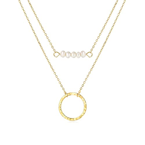 891047dfe7 SEAYII Women Moon Necklace Gold Layered Pearl Choker Bar Circle Pendant 14K  Gold Fill Moon Phase Full Waning Crescent Dainty Chain Boho Simple Delicate  ...