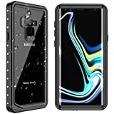Samsung Galaxy Note 9 Waterproof Case, SPIDERCASE Shockproof Snowproof Dirtproof IP68 Certified Waterproof Case for Samsung Galaxy Note 9 (Black/Transparent)