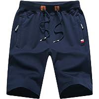 Pantalones cortos casuales de verano de algodón de ajuste clásico con cintura elástica y bolsillos con cremallera