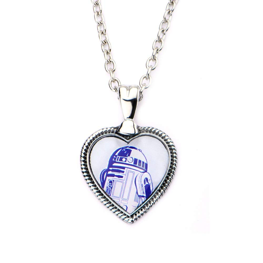 Disney Star Wars Stainless Steel R2D2 Heart Pendant with Chain