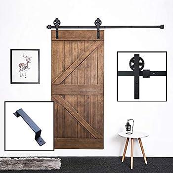 Skysen 6 6ft Sliding Barn Door Hardware Track Kit Black