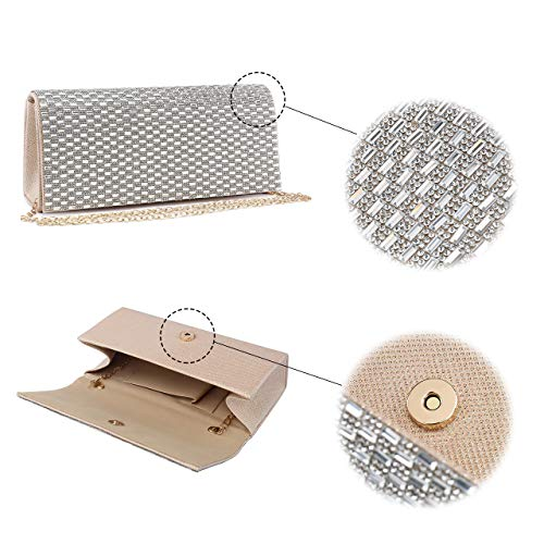 Purse Mirror Bag Womens Mabel Diamante Wedding and 1 London Beige Design Encrusted Evening Clutch 6R6FUvn