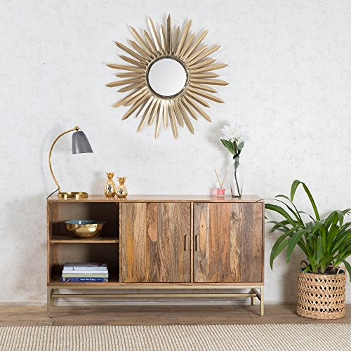 Madeleine Home Nimes Storage Media Console Cabinet with Drawers & Storage | Industrial Style Entryway Display Shelf with Nude Finish | Accent Modern TV Stand in Gold for Apartment, Foyer, Living Room