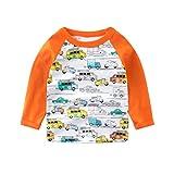 UWESPRING Toddler Boys Funny Cartoon Car Print Tee Tops Long Sleeve T-shirt Kids Cotton T Shirt Undershirt 4T Orange