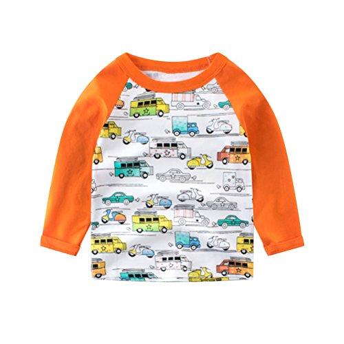 UWESPRING Toddler Boys Funny Cartoon Car Print Tee Tops Long Sleeve T-shirt Kids Cotton T Shirt Undershirt 4T Orange by UWESPRING