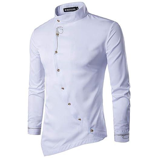 Zyh Camisas para Hombres, Camisas con Botones diagonales ...