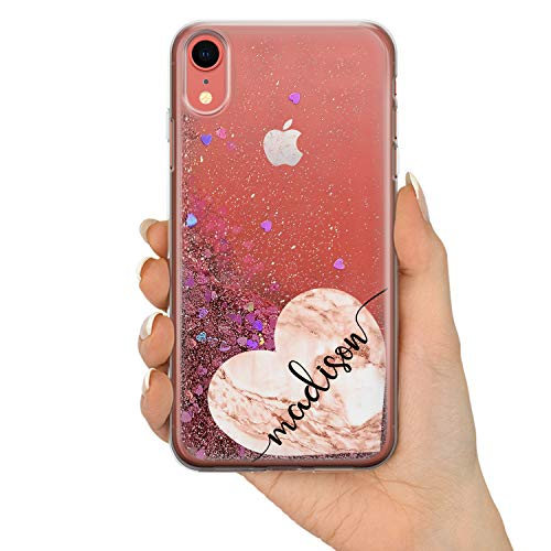 (TULLUN Real Liquid Glitter Personalized Custom Rose Gold Geometric Marble Your Own Name Initials Text TPU Phone Case Cover for iPhone Models - Heart Name - iPhone Xs Max)