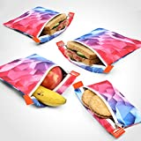 Nordic By Nature Sandwich bags (Pink & Blue) Reusable Sandwich & Snack Bags | Extra Foil Layer For Better Hygiene | Designer Set of 4 Pack | Resealable, Reusable and Eco Friendly Dishwasher Safe Bags