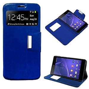 Sony 0755563289132 - Funda cuero piel para xperia t3 azul con soporte e identificador de llamada
