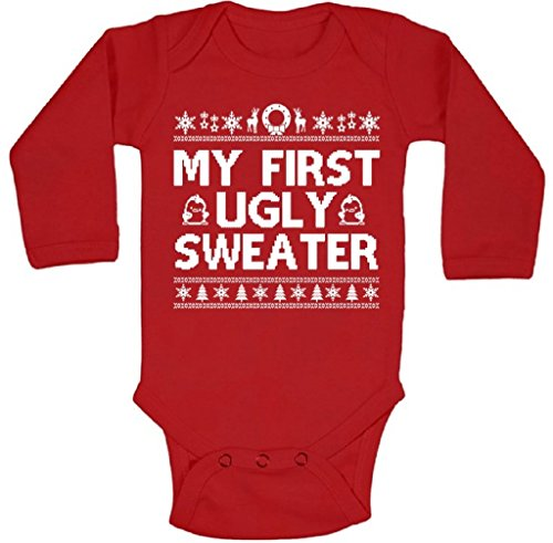 Awkwardstyles My First Ugly Sweater Long Sleeve Onepiece Christmas Baby Bodysuit 6M Red