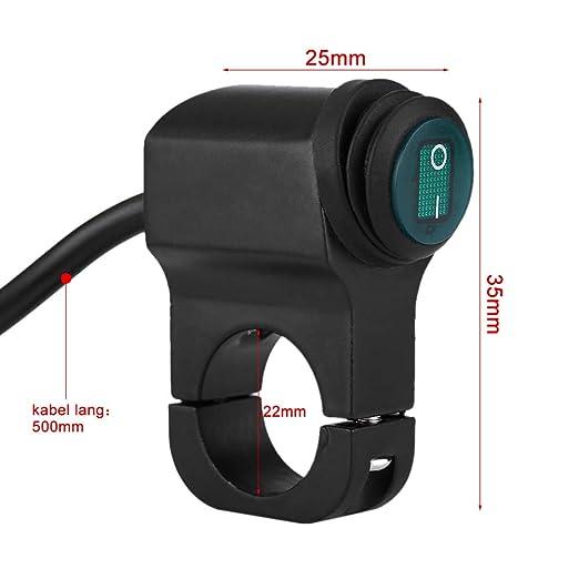 Keenso Universal 12V 22mm Wasserdichte Lenker mit LED Scheinwerferschalter Nebelscheinwerfer