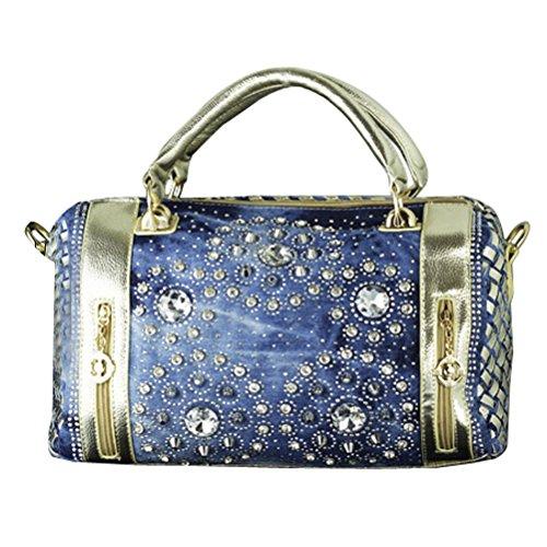 Denim Shoulder Handbag Decoration Gold Diamond Floral Women's Woven Style Donalworld xqpYFP4n