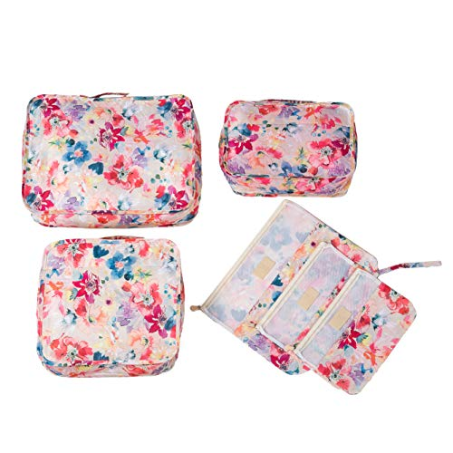 6 Piece TSA Approved Vacation Travel Bag Set Reusable Pink Water Color Floral Packing Cube Compression Luggage Cosmetic Carry On Luggage Organizer Storage